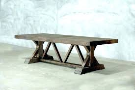 reclaimed wood trestle table votesco salvaged wood trestle dining table salvaged wood trestle round dining table