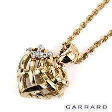 garrard 18ct yellow gold diamond crown heart necklace rich diamonds of bond street