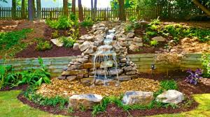 Outdoor Living:Beautiful Garden With Rock Garden Waterfall Idea Beautiful  Garden With Rock Garden Waterfall