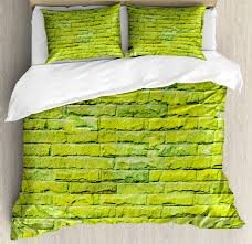 lime green king size duvet cover set pastel wall vibrant toned brick background modern urban style artistic boho decorative 3 piece bedding set with 2