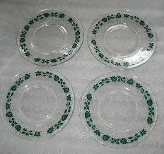 vtg pyrex green primary gooseberry hocking clear glass plate set of 4 qty 6 1