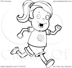 Small Picture Cartoon Clipart Of A Black And White Running Girl Vector