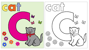 cat coloring page letter c