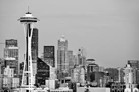 photo print of seattle skyline space needle evening black and white print framed picture fine art photography large print wall decor art for stock
