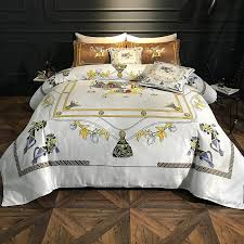 luxury printing 100 cotton royal bedding set pony print ruiyee super king queen size bed sheet set duvet cover bedding sets bedding collection designer