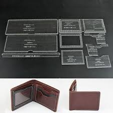 Leather Templates Wuta Acrylic Short Wallet Pattern Stencil Template Set Leather Craft