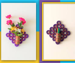News Paper Flower Vase Diy 2 In 1 Flower Vase Pen Stand Recycled Craft With