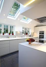 Modern Kitchen Interior Design Cool Skylight Windows Adding Contemporary Flair To Spacious Modern Kitchens