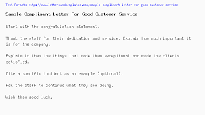 Sample Compliment Letter For Good Customer Service