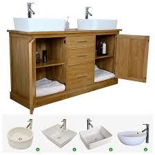 double sink vanity unit. double vanity unit | solid oak bathroom cabinet twin ceramic basin sink taps set a