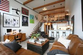 industrial loft lighting. Industrial Loft Lighting Ideas Living Room With Contemporary Artwork Exposed Beams Kitchen Peninsula E