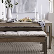 storage benches dining bench cushion three seat tufted richly textured linen cotton blend fabric kitchen shell