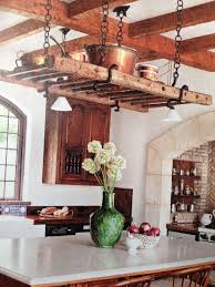kitchen island with pot rack reclaimed ladder pot rack over island mobile kitchen island with pot