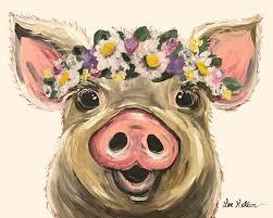 cute pig painting lee keller art