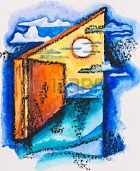 open door painting. Abstract Open Door With Light, Watercolor Slate-pencil Painting Stock Photo - 16536793