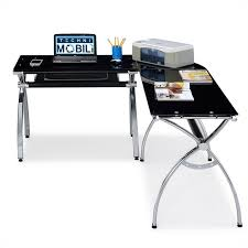 techni mobili l shaped glass desk with chrome frame in black