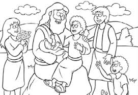 Small Picture Free Coloring Page Jesus and the Children