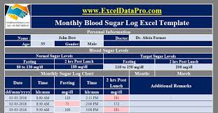 Excel Blood Glucose Log Sheet Download Monthly Blood Sugar Log With Charts Excel Template