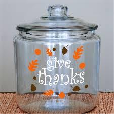 Glass Canister Vinyl Fall Leaves Acorns Thanksgiving Gift Ideas