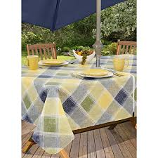 everyday luxuries harmony plaid flannel backed indoor outdoor vinyl table linens 60 inch by 84 inch oblong rectangle with umbrella hole and zipper blue