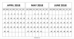 Sample 3 Month Calendar Template April May June 24 Calendar Flogfolioweekly 12