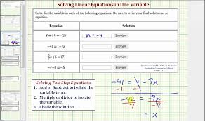 ex solve to two step linear equations in one variable
