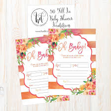 Baby Shower Invitation Cards 50 Fill In Cute Baby Shower Invitations Baby Shower Invitations Floral Pink And Gold Neutral Blank Baby Shower Invites For Girl Baby Invitation