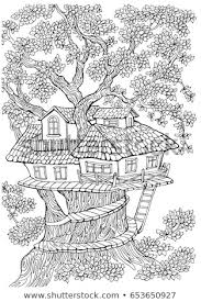 Coloring Pages Kids Adults Tree House Stock Vector Royalty Free