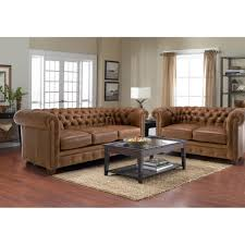 Tufted Living Room Chair Sectional Brown Leather Couch With Chaise Lounge And Rectangle