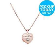 details about 9ct rose gold plated silver diamond set heart locket pendant 18 inch