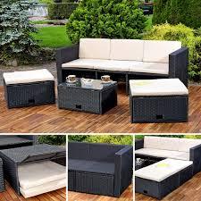 4 Tlg Sitzgarnitur 2 Sitzwürfel Tisch Couch Polyrattan Gartenmöbel
