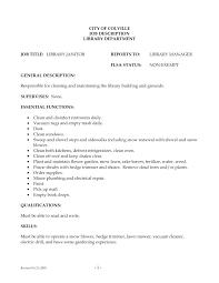 Modest Design Custodian Job Description For Resume Sample Resume For