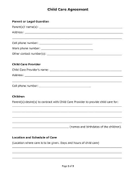 Daycare Contract Template Free Free Printable Pdf Format Form Child Care Agreement For
