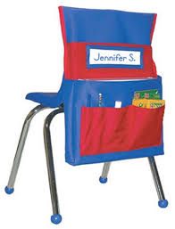 Chair Storage Pocket Chart Student Chair Organizer Chairback Buddy Blue Red Student