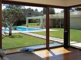 how large sliding glass doors enhance your interior and exterior captivating backyard design which has wooden
