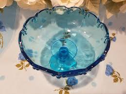 large vintage blue glass candy dish