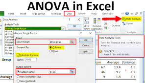 anova in excel exles how to use