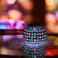 color changing solar garden lights. AOMOMO Color Changing Solar Powered Crystal Mosaic Glass Ball Garden Patio LED Light Waterproof Outdoor Lights