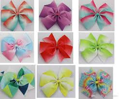 new arrival 5inch rainbow grosgrain pinwheel hair bows diy ribbon hair clips boutique bows for girls hair accessories hair accessories for flower girls