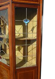 edwardian art nouveau leaded glass display cabinet antique display cabinets