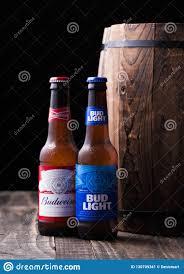Old Bud Light Label London Uk April 27 2018 Glass Bottle Of Bud Light And