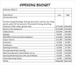 budget sheets pdf restaurant budget sample restaurant budget template usages of
