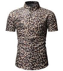 Nanquan Men Big Tall Button Down Slim Fit Leopard Print