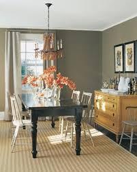 gray walls dark table light chairs tan wood diningroom