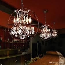 nordic industry retro rust iron pendant lamp k9 crystal iron ball shape lamp vintage loft american vintage country hanging light chandelier ceiling light
