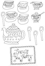 Printable Tea Party Coloring Pages 8211