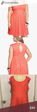 Torrid Peach Floral Lace Open Back Dress Size 4 26 Torrid