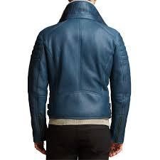 men s designer lightweight shearling blue leather jacket