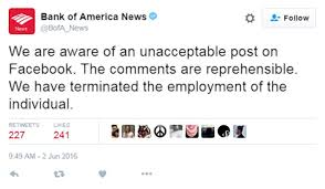 Employee News Bank Of America Employee Fired After Racist Facebook Rant Thousands