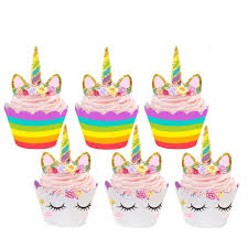 12x Unicorn Birthday Cup Cake Wrappers Decorations Decorating Kit